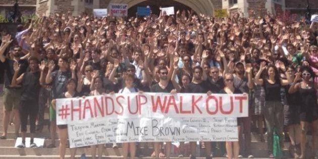 【黒人少年射殺】マイケル・ブラウンさんを追悼して、大学生が授業をボイコット