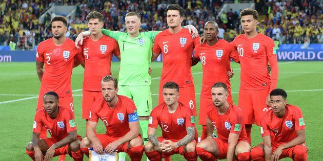 決勝トーナメント1回戦でコロンビアに臨んだイングランド代表=7月3日、ロシア・モスクワにて