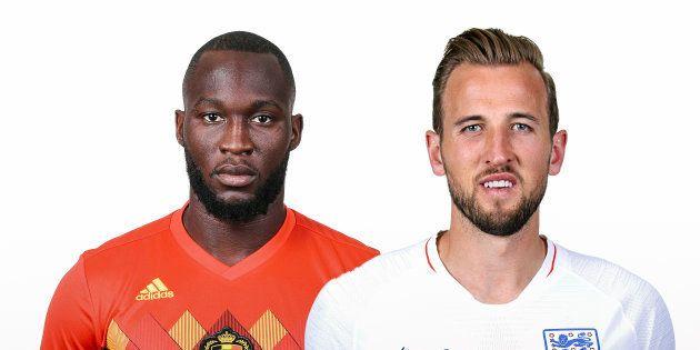 (左から)ベルギーのルカク選手、イングランドのケイン選手 (Photo by FIFA/FIFA via Getty
