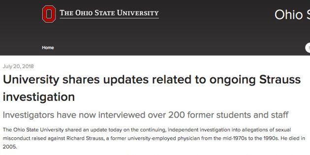 多数の学生らが性的暴行を受けていたことを明かしたオハイオ州立大の公式サイト