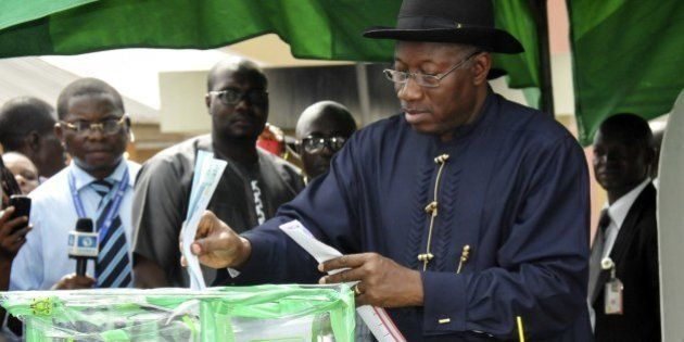 Nigerian President Goodluck Jonathan casts his ballot in Otuoke on March 28, 2015. Voting began in Nigeria's...