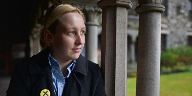 PAISLEY, SCOTLAND - APRIL 29: Mhairi Black, the twenty year old SNP candidate is the youngest person...