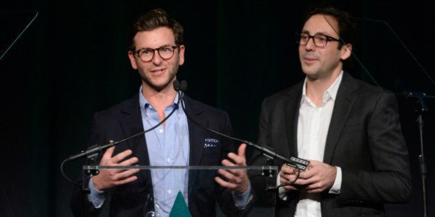 NEW YORK, NY - NOVEMBER 04: Co-Founders & Co-CEOs of Warby Parker, Dave Gilboa and Neil Blumenthal speak...