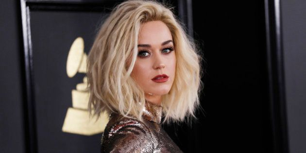 Singer Katy Perry arrives at the 59th Annual Grammy Awards in Los Angeles, California, U.S. , February...