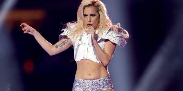HOUSTON, TX - FEBRUARY 05: Lady Gaga performs during the Pepsi Zero Sugar Super Bowl 51 Halftime Show...