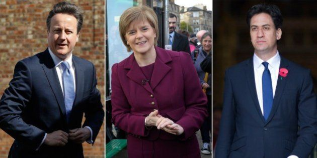 A combination picture shows (L-R) UK Independence Party leader Nigel Farage, British Prime Minister and...
