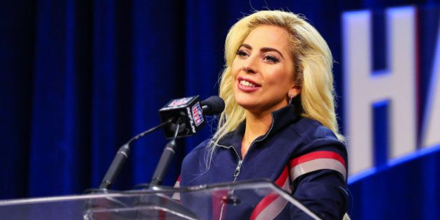 HOUSTON, TX - FEBRUARY 02: Lady Gaga answers questions from the media during the Super Bowl LI Pepsi...
