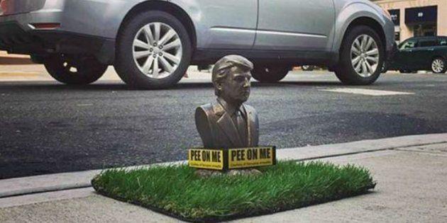 ニューヨークに現れたトランプ像