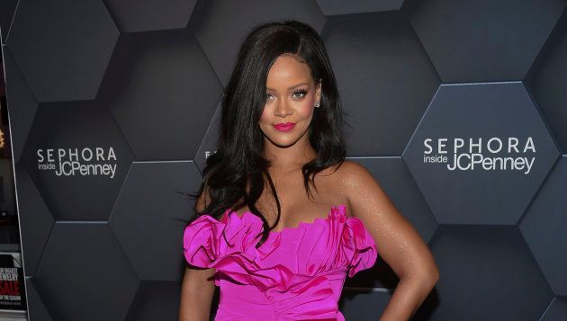 Singer Rihanna arrives at the Fenty Beauty by Rihanna one year anniversary party at Sephora inside JCPenney...