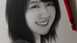 有村架純さんの笑顔、シャープペンで描いてみたんだ。(画像)