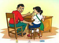 女子生徒の身体に触る先生
