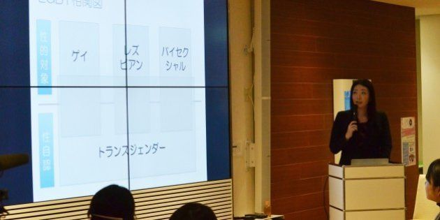 企業の人事担当者を対象にしたLGBT人材採用セミナーで話す如月音流さん=19日、東京・恵比寿
