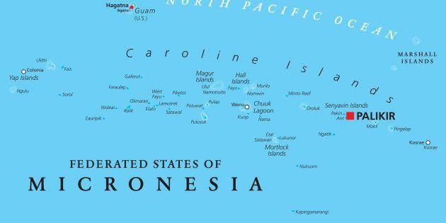 ミクロネシア連邦の地図。赤が首都パリキール