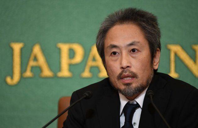 記者会見する安田純平さん=11月2日、東京