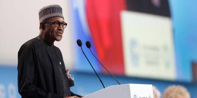ポーランドで公演するナイジェリアのブハリ大統領(12月3日撮影)