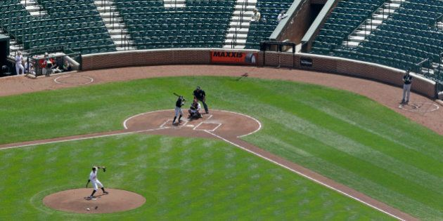 Baltimore Orioles starting pitcher Ubaldo Jimenez throws to Chicago White Sox's Adam Eaton in the first...