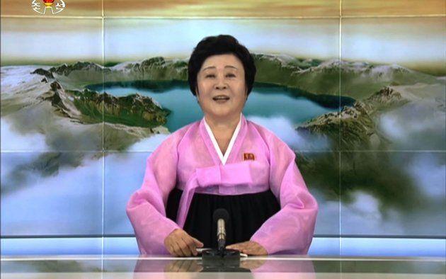 朝鮮中央テレビのイ・チュニ氏。