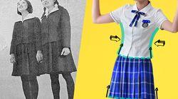 女子生徒の制服が「体にぴったりすぎる」