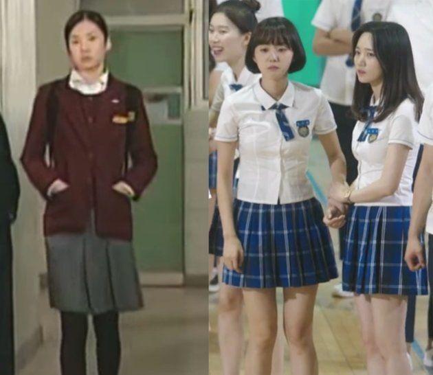 ドラマ『学校1』(1999)と『学校2017』(2017)に出演した女子生徒の制服