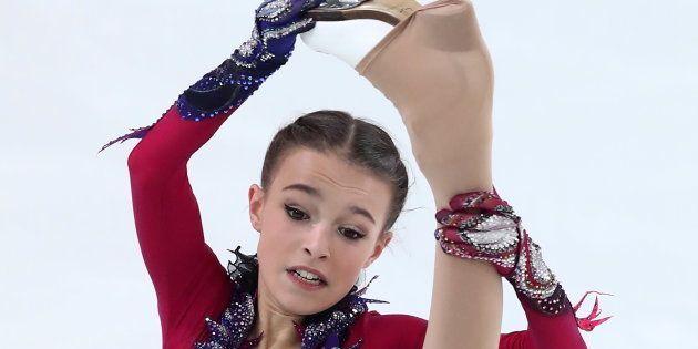 ロシア選手権のフリーで演技するアンナ・シェルバコワ選手=12月22日、ロシア・サランスク