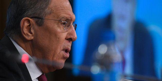 会見するロシアのラブロフ外相=1月16日、モスクワ