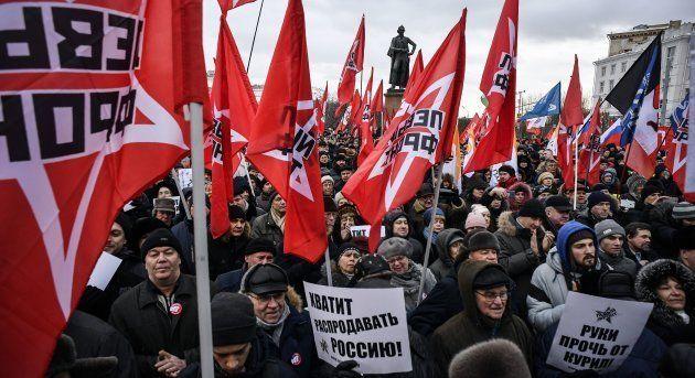 北方領土を日本に引き渡すことに反対するロシア人の集会=1月20日、モスクワ