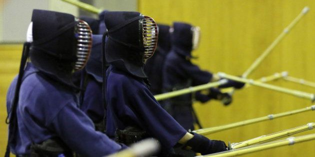 National Defense Academy of Japan (NDA) cadets take part in Kendo, the Japanese martial art of bamboo...