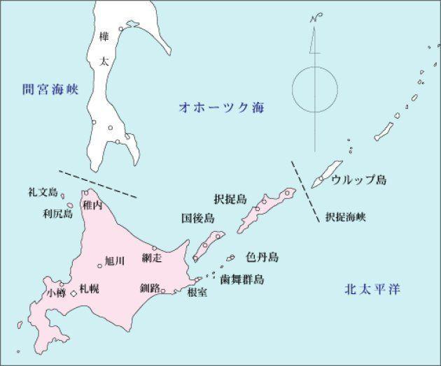 択捉島、国後島、色丹島、歯舞群島からなる北方領土