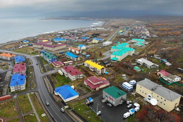 択捉島の町並み