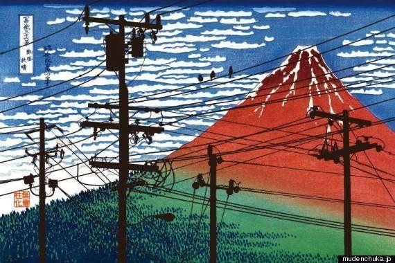 赤富士が電線だらけ...