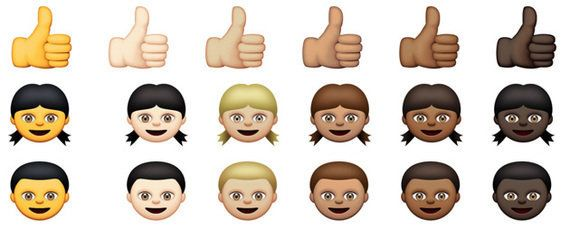 iOSの絵文字、肌の色を5色から指定可能に 人種の多様性に対応