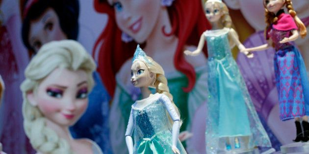 Disney Frozen Feature Fashion Dolls are displayed at the Mattel booth, Friday, Feb. 14, 2014 at the American...