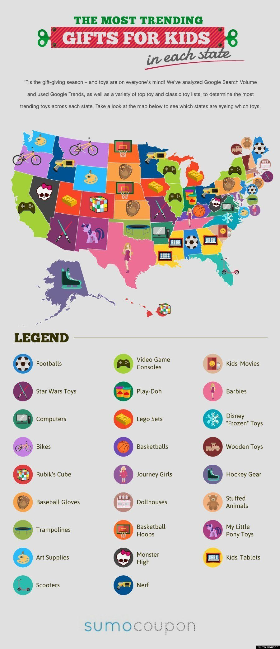 クリスマスプレゼント、アメリカ各州の一番人気は?(マップ)