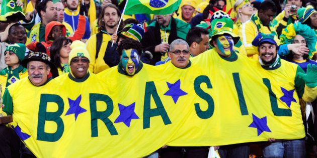 JOHANNESBURG, SOUTH AFRICA - JUNE 20: Brazil fans enjoy the atmosphere prior to the 2010 FIFA World Cup...