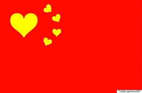 Twitterにならって、国旗の星をハートにしたら「世界はめちゃめちゃ平和になる」