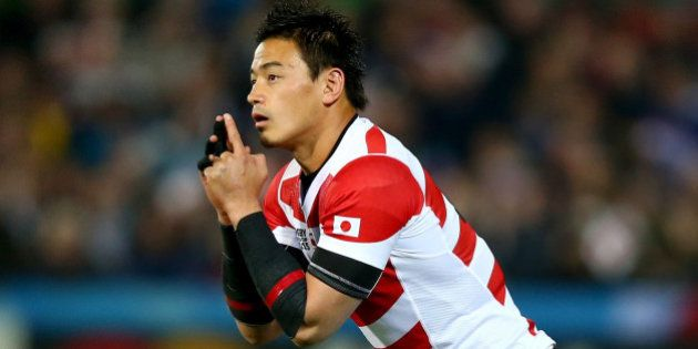 GLOUCESTER, ENGLAND - OCTOBER 11: Ayumu Goromaru of Japan prepares to kick during the 2015 Rugby World...