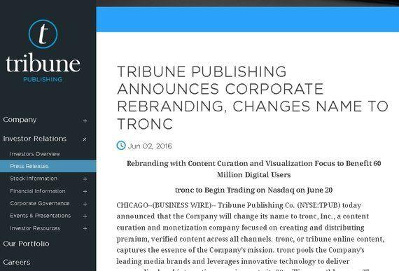 「トロンク祭り」トリビューンの社名変更とメディアの生き残りをかけた買収騒動