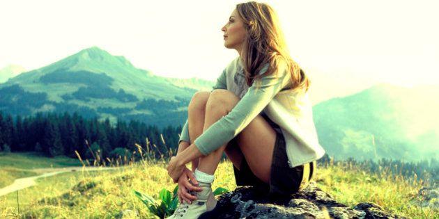 Woman sitting on