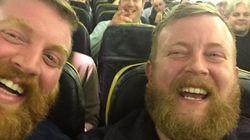 飛行機で偶然乗り合わせた2人が完全に一致(画像)