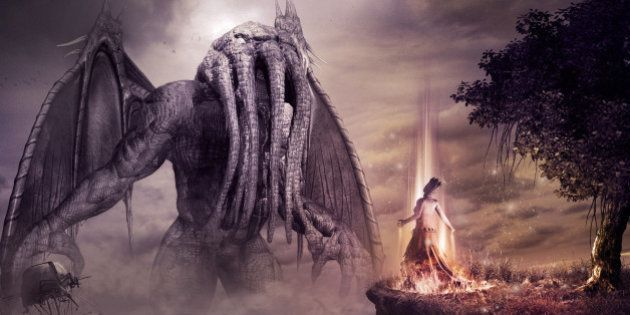 Fantasy scenery with monster and evil