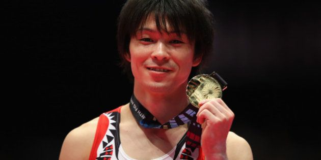 GLASGOW, SCOTLAND - OCTOBER 30: Kohei Uchimura of Japan wins Gold in the All-Around Final on day eight...