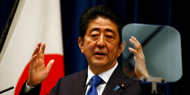 Japan's Prime Minister Shinzo Abe attends a news conference at his official residence in Tokyo, Japan...