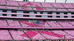 人文字で「ピンクリボン」 NFLの球場全体が桃色に染まる (画像)