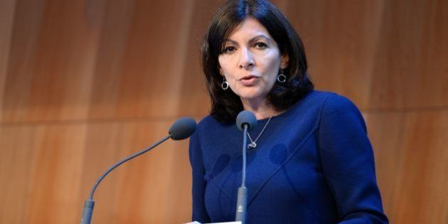 Mayor of Paris Anne Hidalgo delivers a speech during a press conference about tourism in Paris on May...