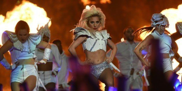 Singer Lady Gaga performs during the halftime show of Super Bowl LI at NGR Stadium in Houston, Texas,...