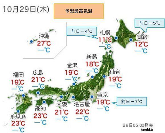 関東など気温大幅ダウン