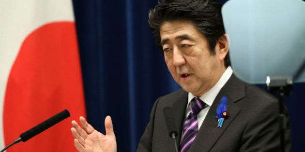 Japanese Prime Minister Shinzo Abe speaks during a press conference at his official residence in Tokyo...