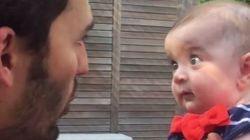 赤ちゃん、「生命の奇跡」を無我夢中で聞く。(動画)