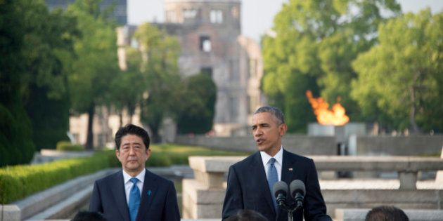 US President Barack Obama delivers remarks after laying a wreath at the Hiroshima Peace Memorial Park...