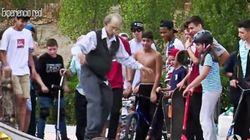 おじいちゃん、杖ついてスケボーに乗ったのに......超かっこいい(動画)